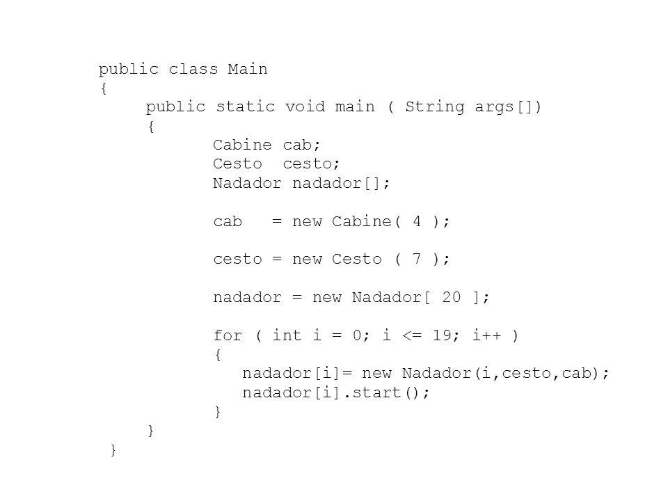 public class Main { public static void main ( String args[]) Cabine cab; Cesto cesto; Nadador nadador[];